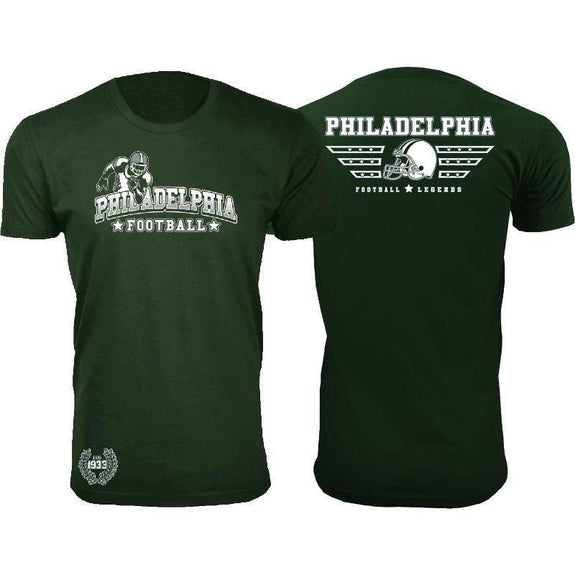Men's Greatest Football Legends T-Shirts-Philadelphia - Forest Green-M-Daily Steals