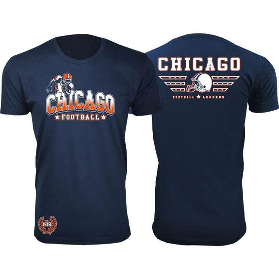 Men's Greatest Football Legends T-Shirts-Chicago - Navy-S-Daily Steals