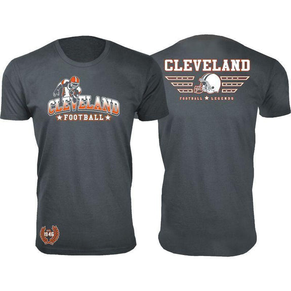 Men's Greatest Football Legends T-Shirts-Cleveland - Charcoal-S-Daily Steals