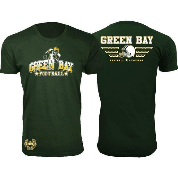 Men's Greatest Football Legends T-Shirts-Green Bay - Forest Green-S-Daily Steals