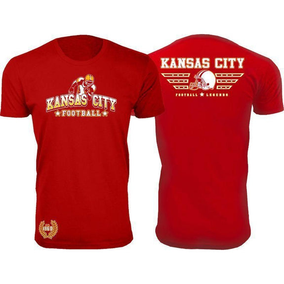 Men's Greatest Football Legends T-Shirts-Kansas City - Red-S-Daily Steals
