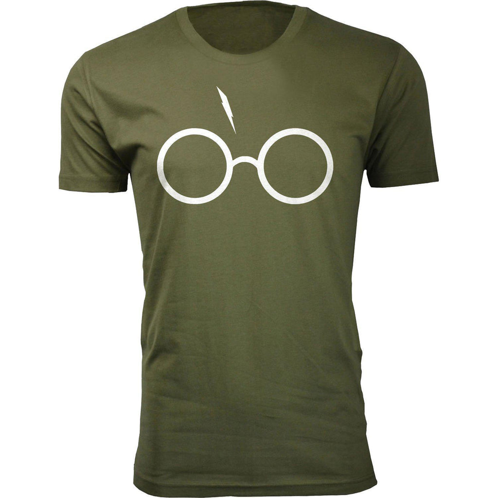 Daily Steals-Men's Harry Potter Themed Humor T-shirts-Men's Apparel-Small-Potter Glasses - Military Green-