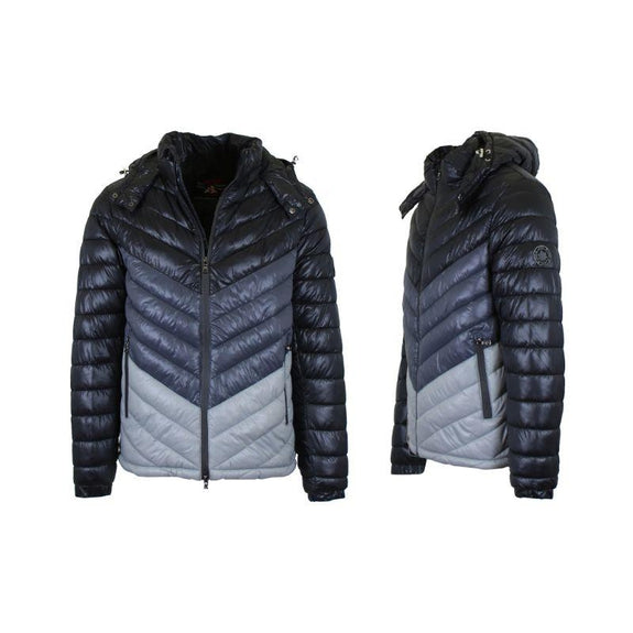 Men's Heavyweight Quilted Hooded Puffer Bubble Jacket-Black-Charcoal-Silver-S-