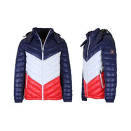 Men's Heavyweight Quilted Hooded Puffer Bubble Jacket-Navy-White-Red-2XL-