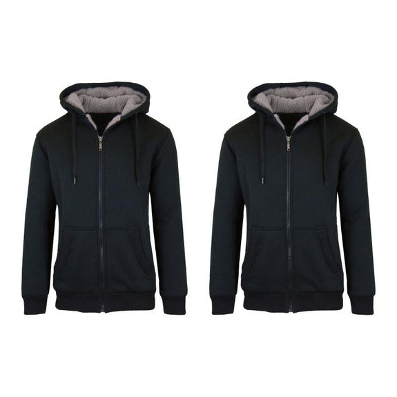 Mens Heavyweight Sherpa Fleece-Lined Hoodie - 2 Pack-Black & Black-L-