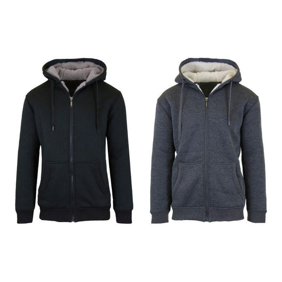 Mens Heavyweight Sherpa Fleece-Lined Hoodie - 2 Pack-Black & Charcoal-L-
