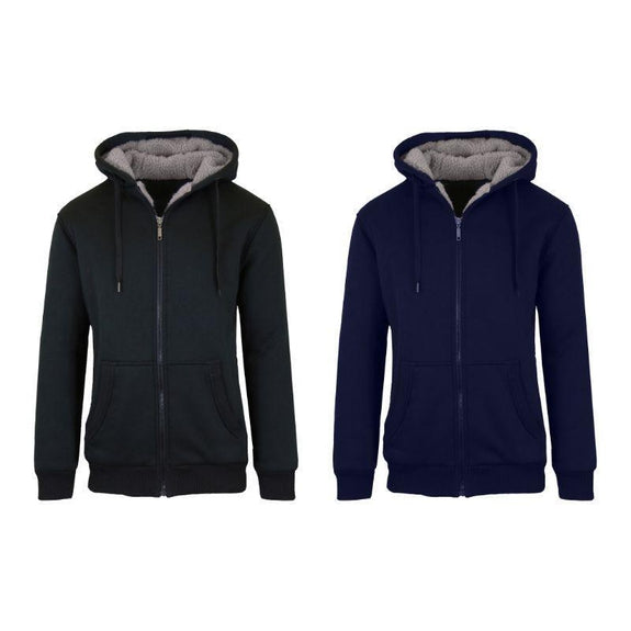 Mens Heavyweight Sherpa Fleece-Lined Hoodie - 2 Pack-Black & Navy-L-