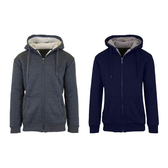 Mens Heavyweight Sherpa Fleece-Lined Hoodie - 2 Pack-Charcoal & Navy-L-