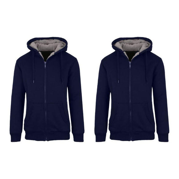 Mens Heavyweight Sherpa Fleece-Lined Hoodie - 2 Pack-Navy & Navy-XL-
