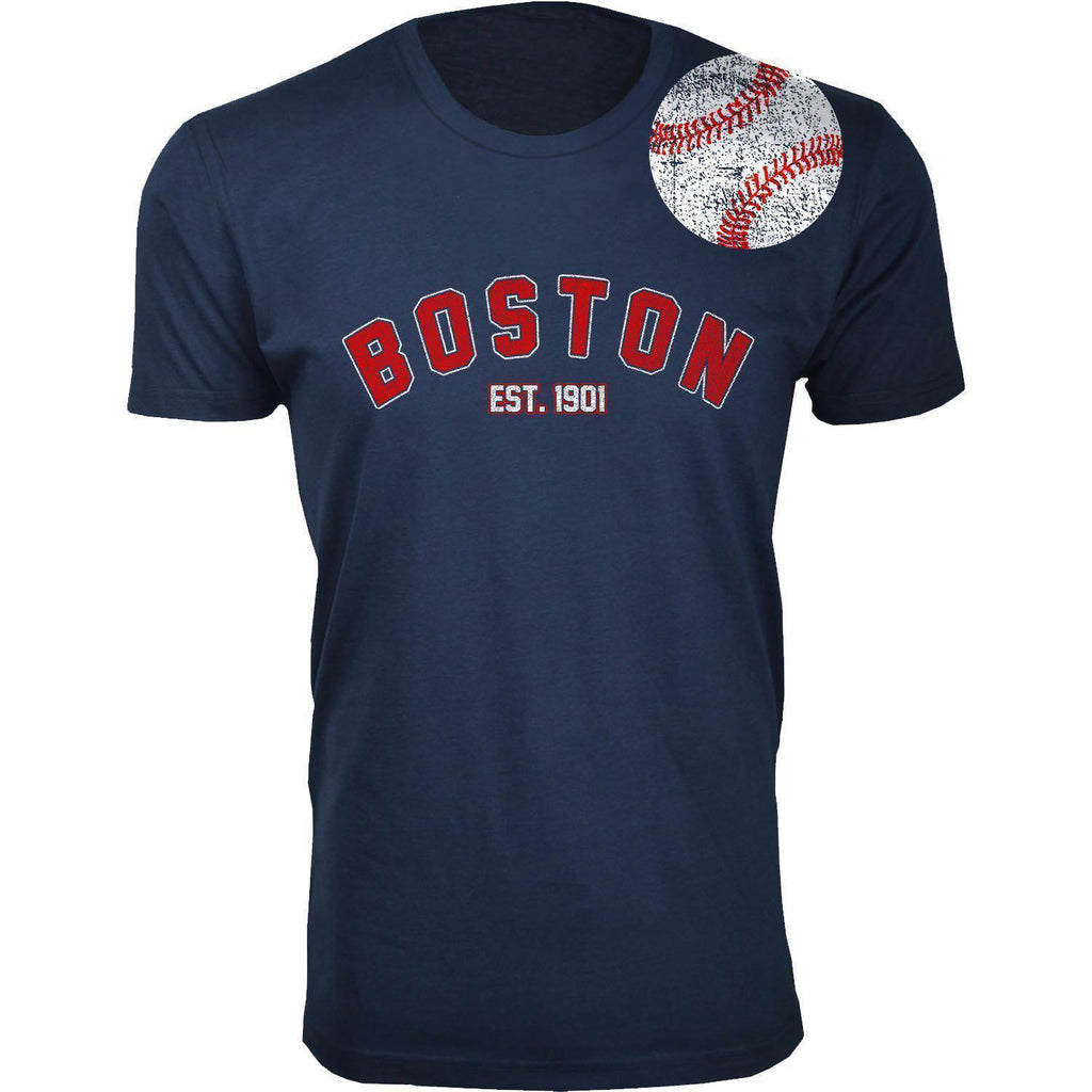 Daily Steals-Men's Home Run Baseball T-shirts-Men's Apparel-2XL-Boston - Navy-