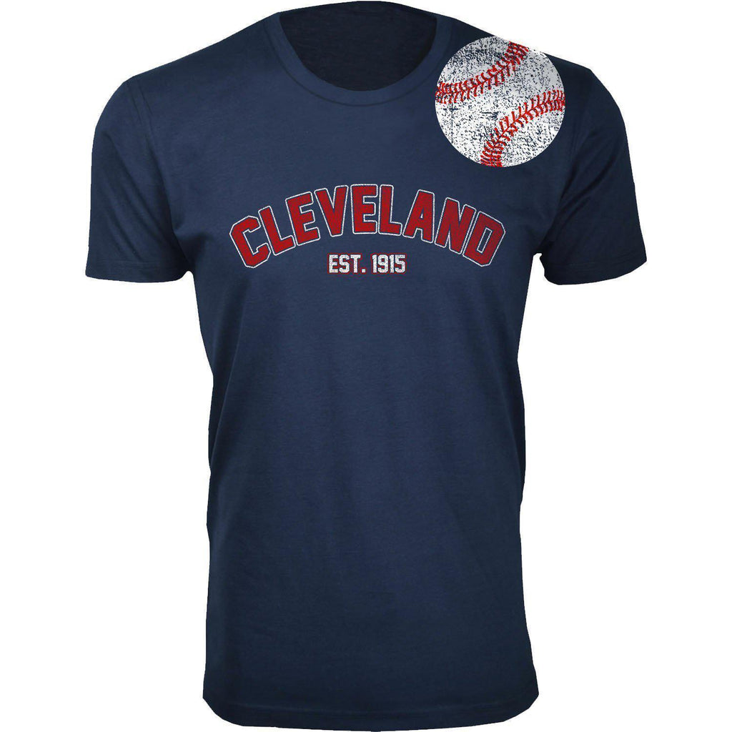 Daily Steals-Men's Home Run Baseball T-shirts-Men's Apparel-2XL-Cleveland - Navy-