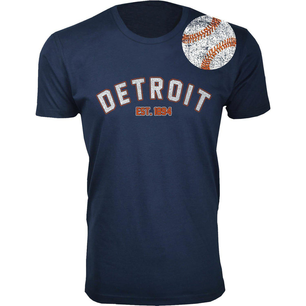 Daily Steals-Men's Home Run Baseball T-shirts-Men's Apparel-2XL-Detroit - Navy-
