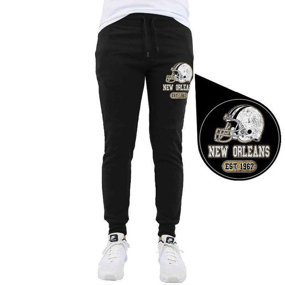 Men's Home Team Football Jogger Sweatpants-New Orleans - Black-M-Daily Steals