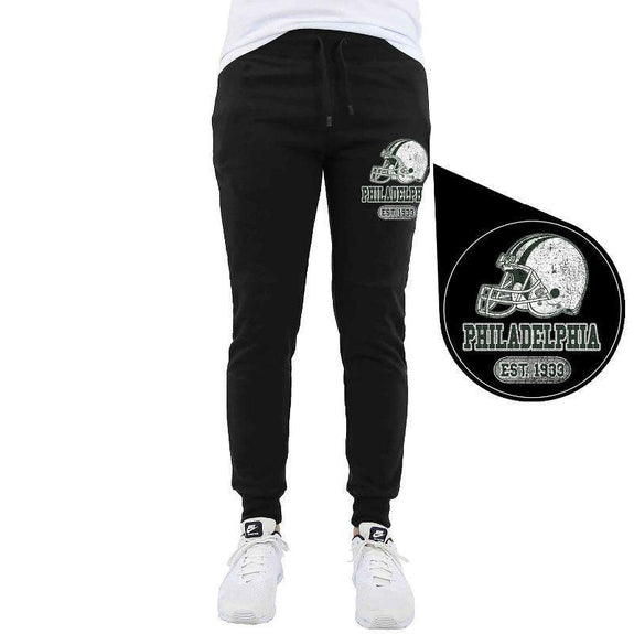 Men's Home Team Football Jogger Sweatpants-Philadelphia - Black-M-Daily Steals