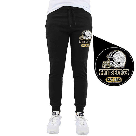 Men's Home Team Football Jogger Sweatpants-Pittsburgh - Black-M-Daily Steals