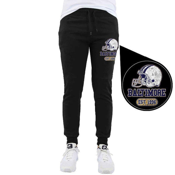 Men's Home Team Football Jogger Sweatpants-Baltimore - Black-M-Daily Steals