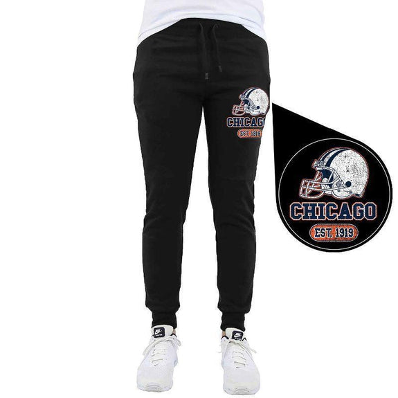 Men's Home Team Football Jogger Sweatpants-Chicago - Black-M-Daily Steals