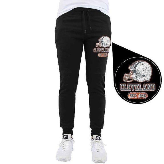 Men's Home Team Football Jogger Sweatpants-Cleveland - Black-M-Daily Steals