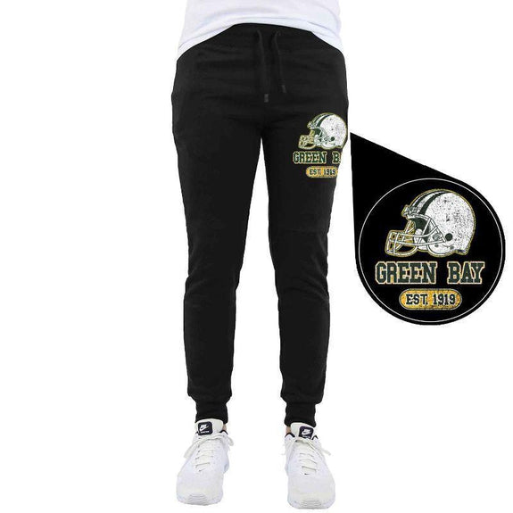 Men's Home Team Football Jogger Sweatpants-Green Bay - Black-M-Daily Steals