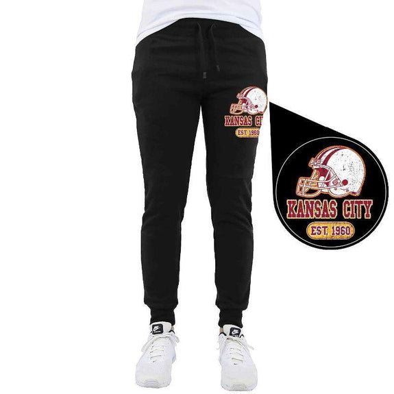 Men's Home Team Football Jogger Sweatpants-Kansas City - Black-M-Daily Steals