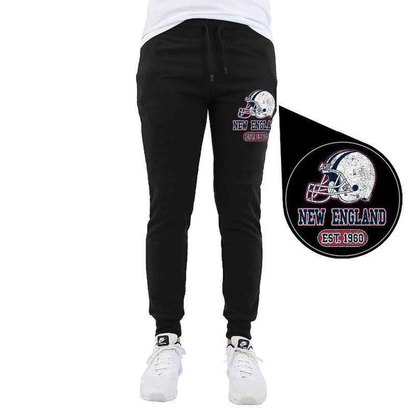 Men's Home Team Football Jogger Sweatpants-New England - Black-M-Daily Steals