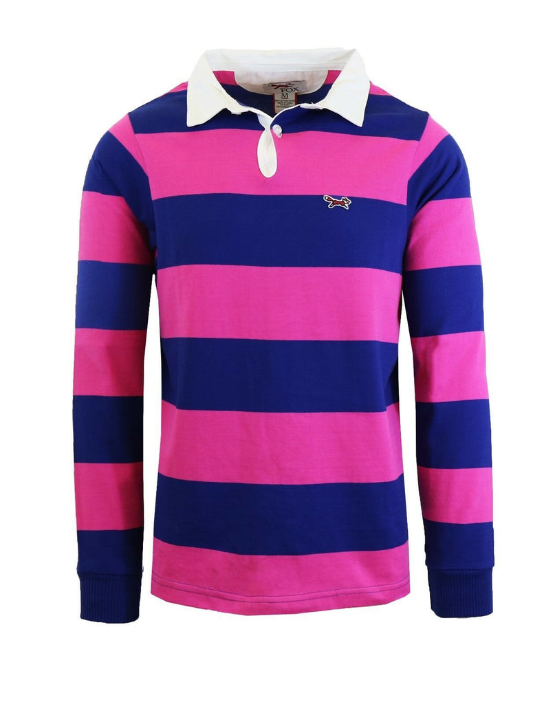 Daily Steals-Men's Long Sleeve 100% Cotton Striped Polo T-Shirt-Men's Apparel-Shock Pink-M-