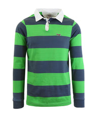 Daily Steals-Men's Long Sleeve 100% Cotton Striped Polo T-Shirt-Men's Apparel-Neon Green-M-