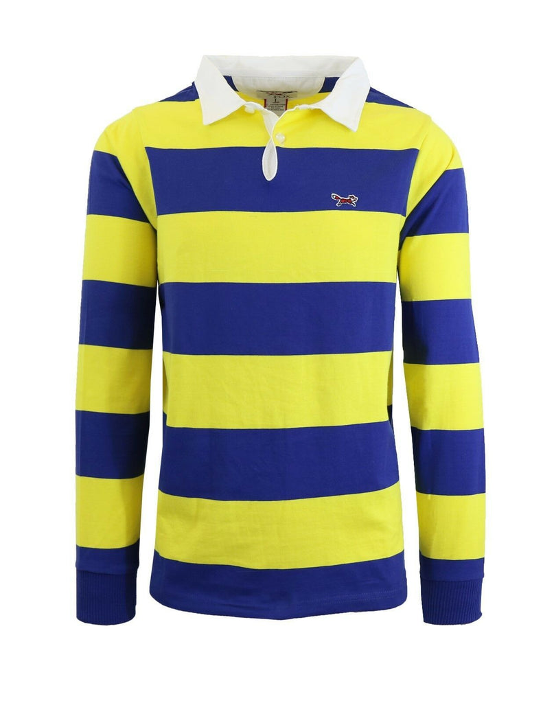 Daily Steals-Men's Long Sleeve 100% Cotton Striped Polo T-Shirt-Men's Apparel-Spark-M-