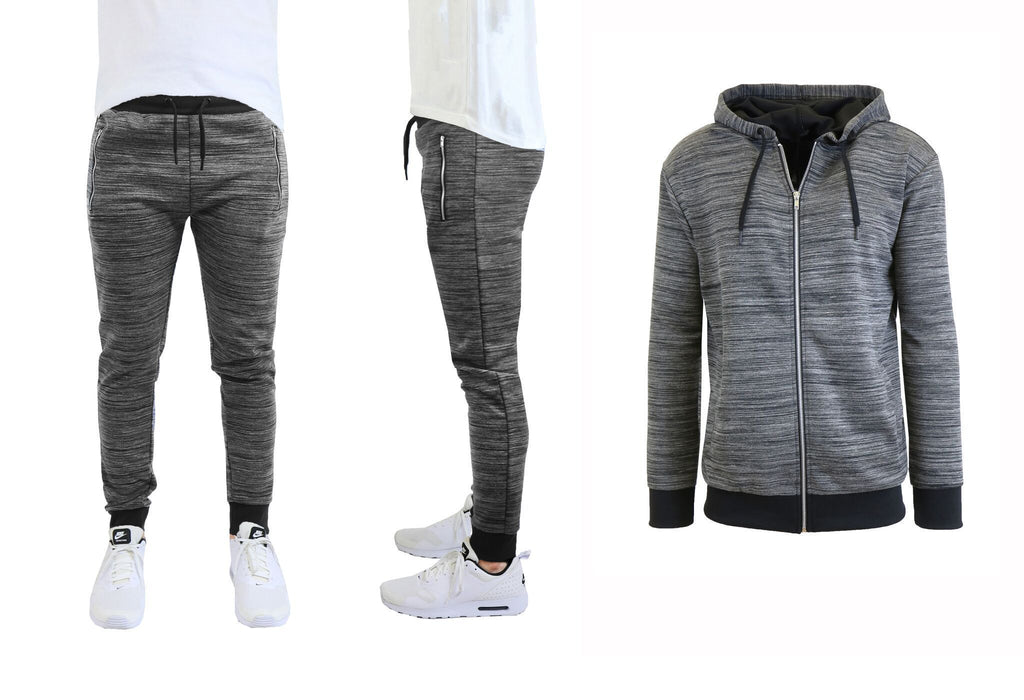 Daily Steals-Mens Marled Tech Fleece Stretch Hoodie & Jogger Set-Men's Apparel-Black-Black-Small-