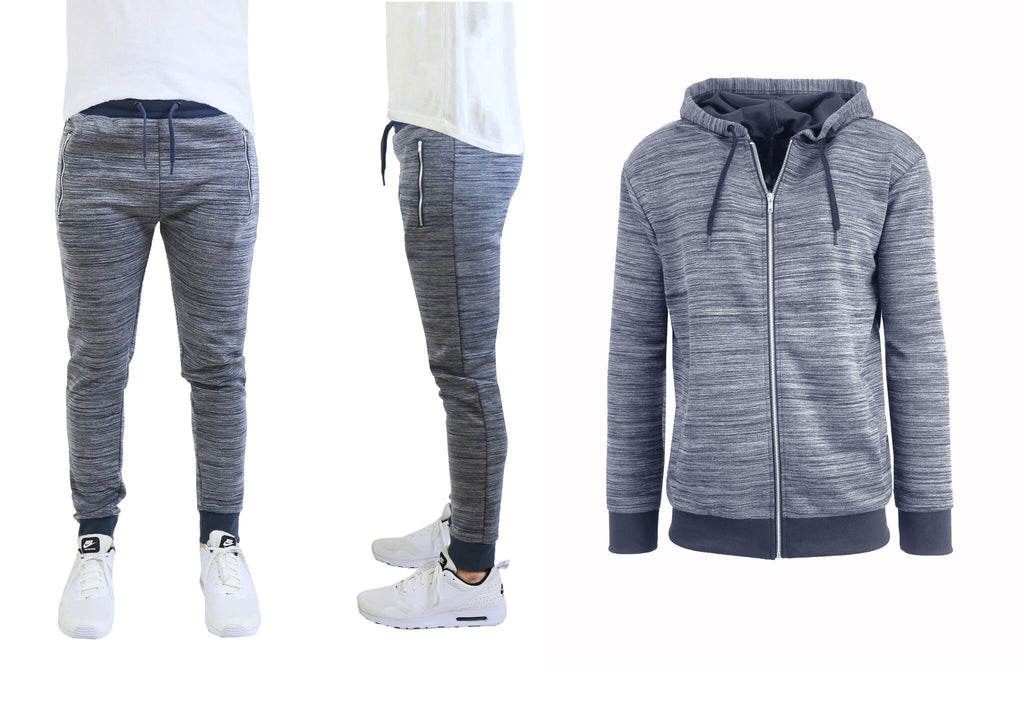Daily Steals-Hommes Marled Tech Fleece Stretch Hoodie & Jogger Set-Men's Apparel-Blue-Navy-Small-