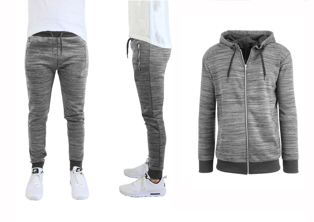 Daily Steals-Hommes Marled Tech Fleece Stretch Hoodie & Jogger Set-Men's Apparel-Grey-Dark Grey-Small-