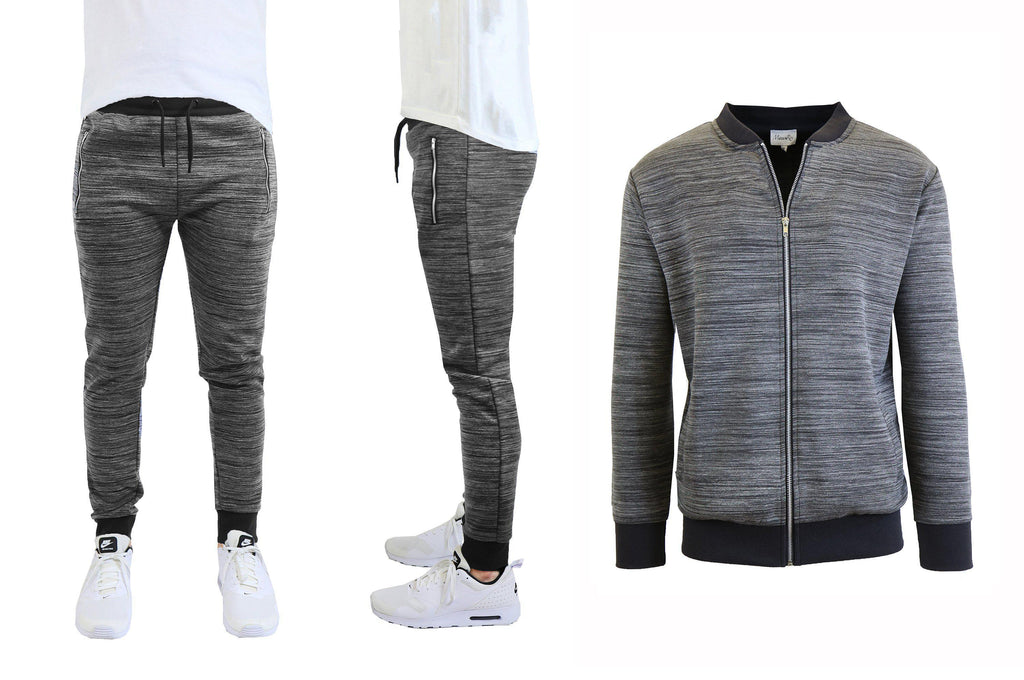 Daily Steals-Men's Marled Tech Fleece Stretch Sweater Jacket & Jogger Set-Men's Apparel-Black-S-