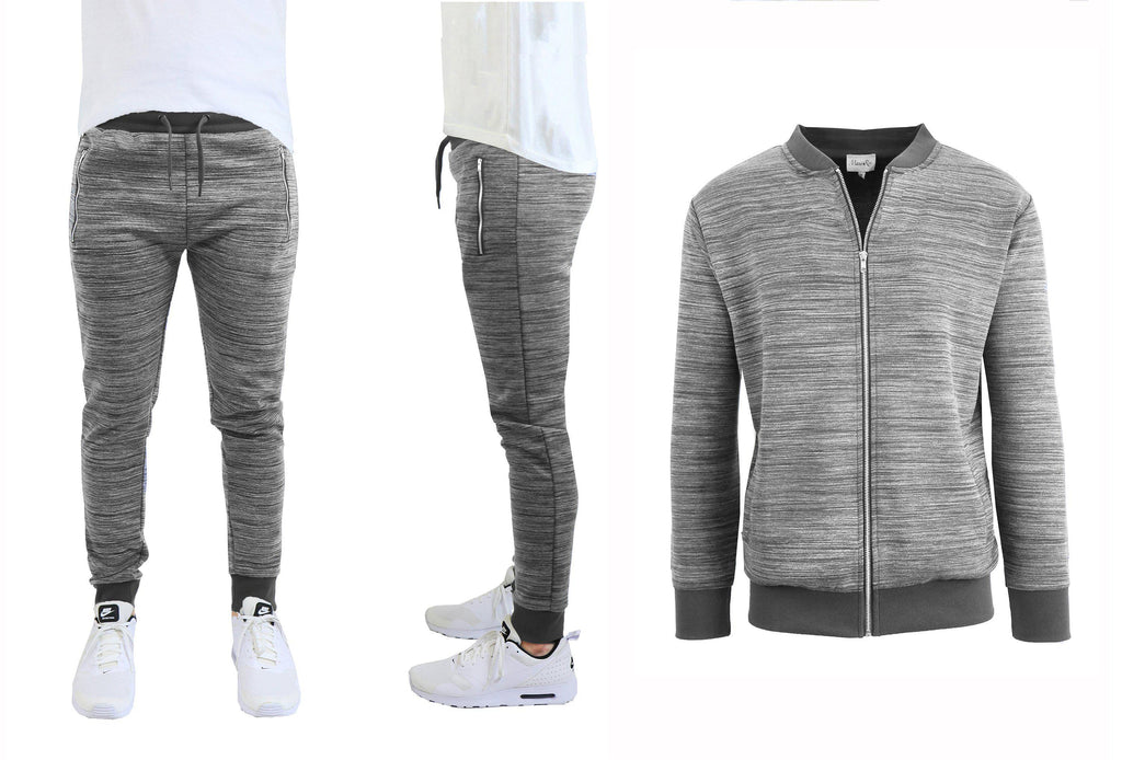 Daily Steals-Men's Marled Tech Fleece Stretch Sweater Jacket & Jogger Set-Men's Apparel-Dark Grey-S-