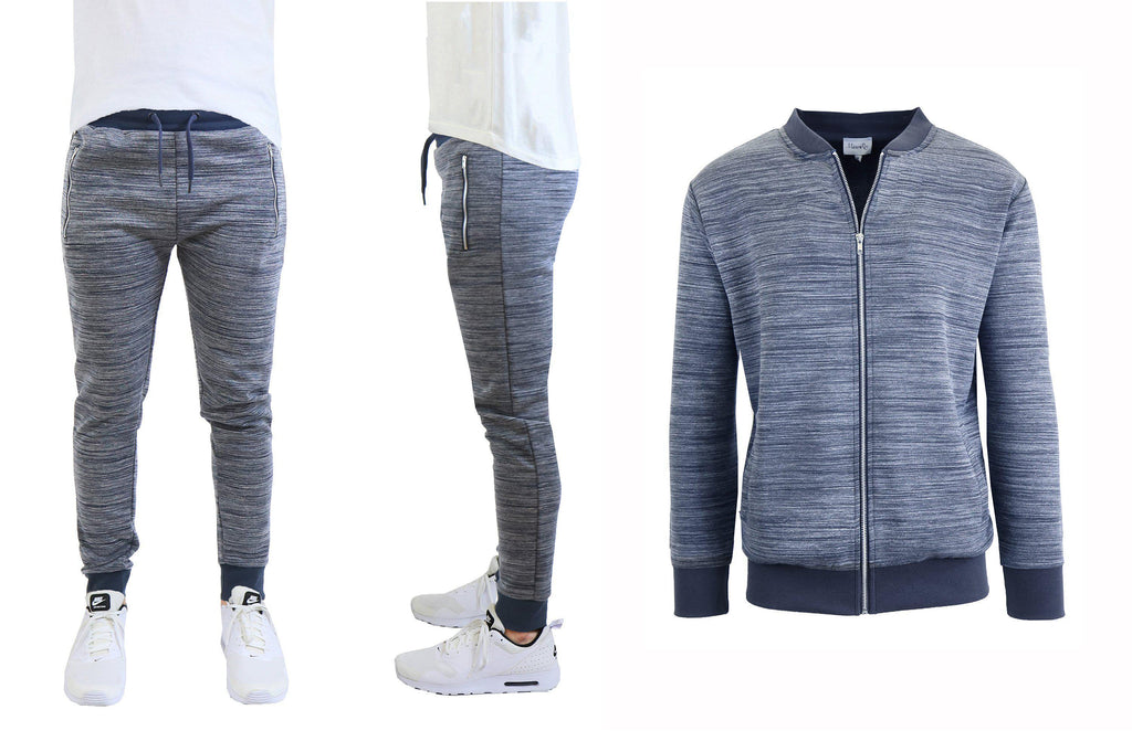 Daily Steals-Men's Marled Tech Fleece Stretch Sweater Jacket & Jogger Set-Men's Apparel-Navy-S-