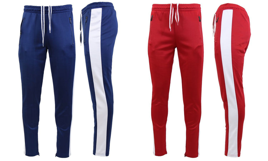 Daily Steals-Men's Moisture Wicking Active Joggers With Side Stripe & Zipper Pockets - 2 Pack-Men's Apparel-NAVY-WHITE-RED-WHITE-Small-