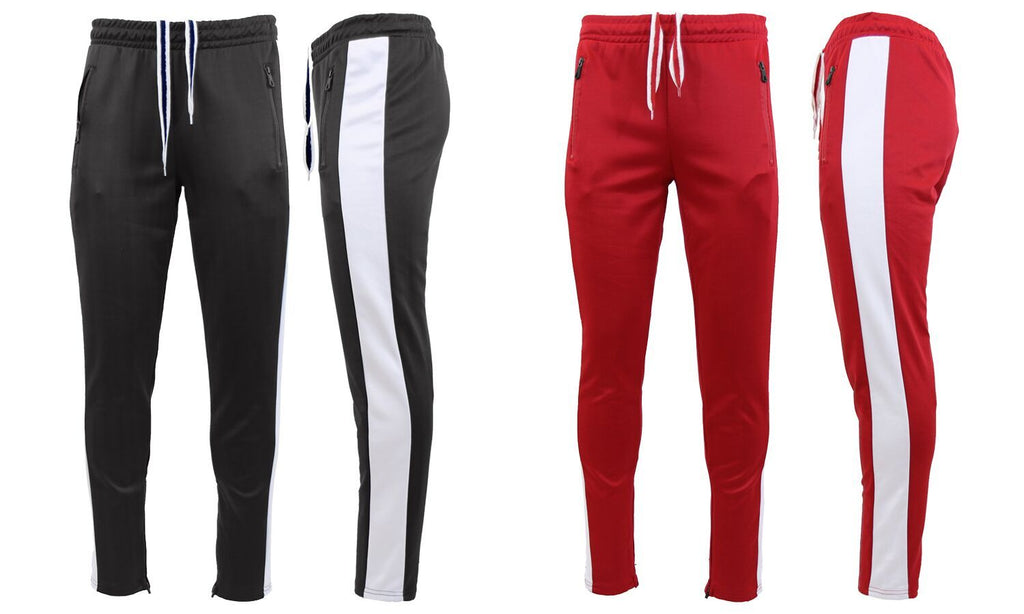 Daily Steals-Men's Moisture Wicking Active Joggers With Side Stripe & Zipper Pockets - 2 Pack-Men's Apparel-RED-WHITE-BLACK-WHITE-Small-