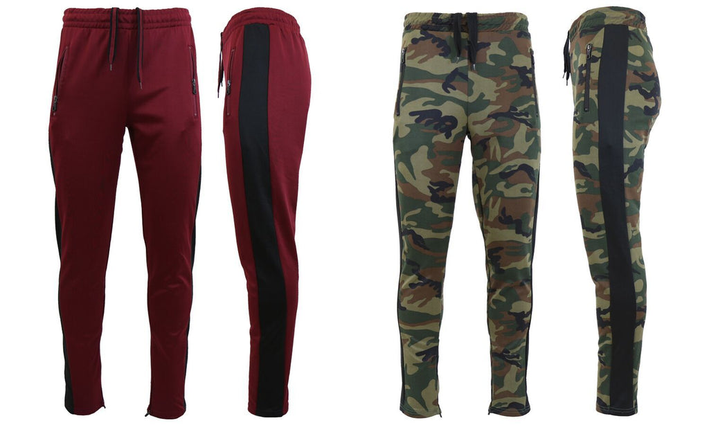 Daily Steals-Men's Moisture Wicking Active Joggers With Side Stripe & Zipper Pockets - 2 Pack-Men's Apparel-WOODLAND-BLACK-BURGUNDY-BLACK-Small-