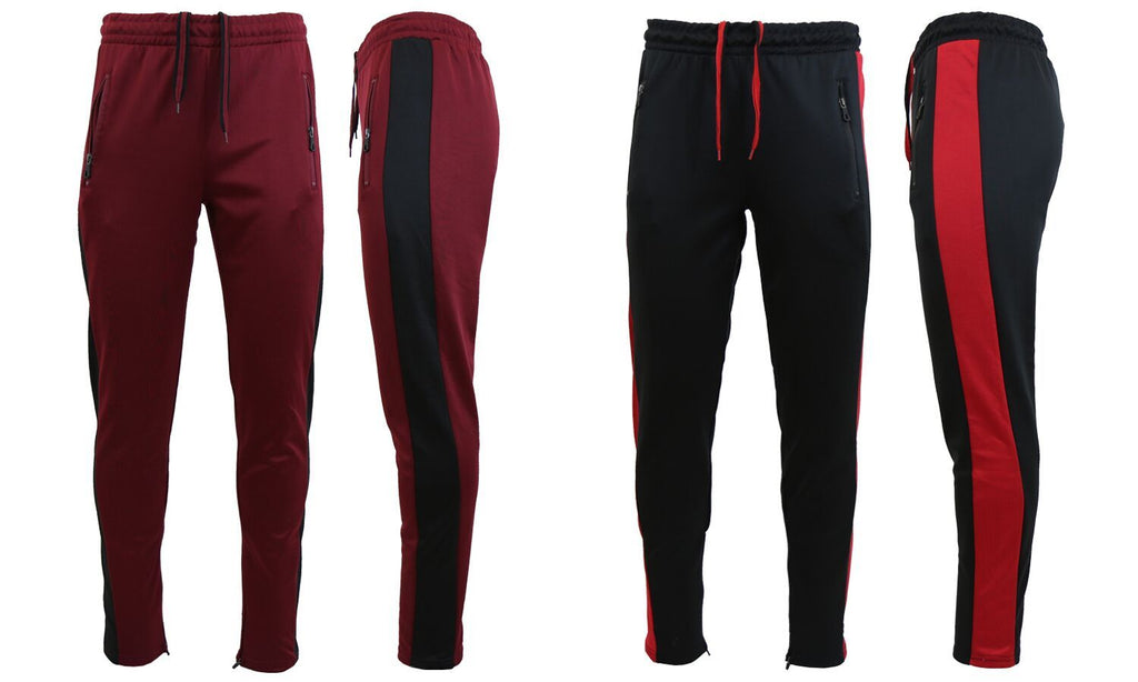Daily Steals-Men's Moisture Wicking Active Joggers With Side Stripe & Zipper Pockets - 2 Pack-Men's Apparel-BURGUNDY-BLACK-BLACK-RED-Small-