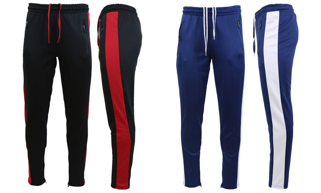 Daily Steals-Men's Moisture Wicking Active Joggers With Side Stripe & Zipper Pockets - 2 Pack-Men's Apparel-BLACK-RED-NAVY-WHITE-Small-