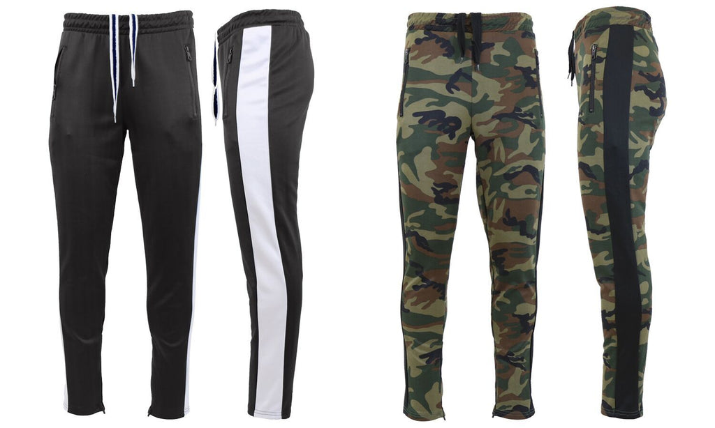 Daily Steals-Men's Moisture Wicking Active Joggers With Side Stripe & Zipper Pockets - 2 Pack-Men's Apparel-BLACK-WHITE-WOODLAND-BLACK-Small-