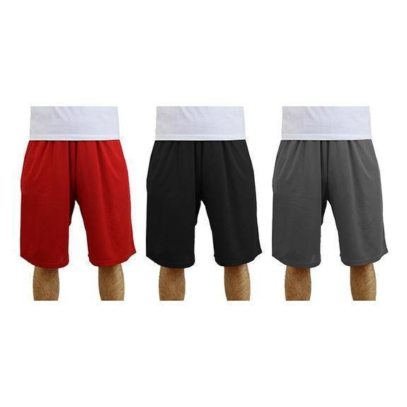 Daily Steals-Men's Moisture-Wicking Active Mesh Shorts - 3 Pack-Men's Apparel-Red - Black - Charcoal-2X-Large-