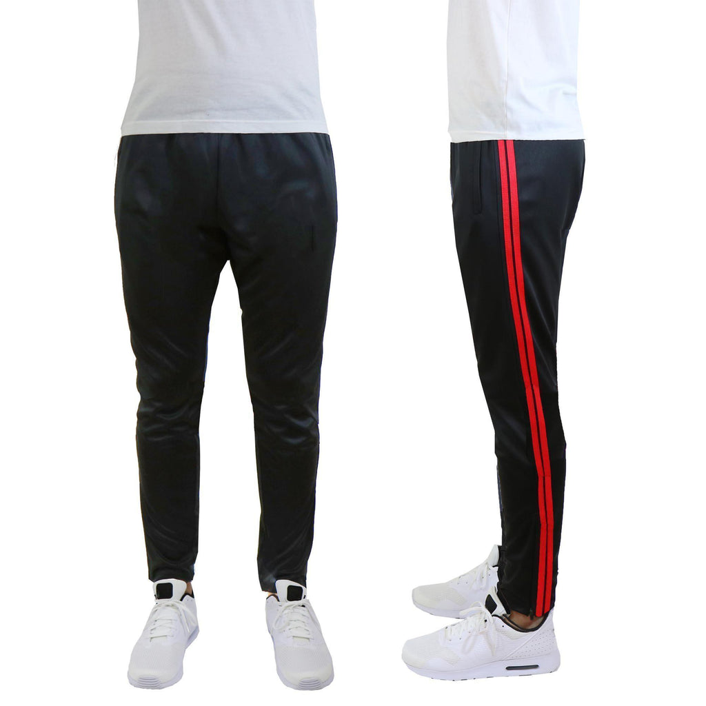 Daily Steals-Men's Moisture-Wicking Striped Jogger Track Pants-Men's Apparel-Style 1 - Black-Red-2X-Large-