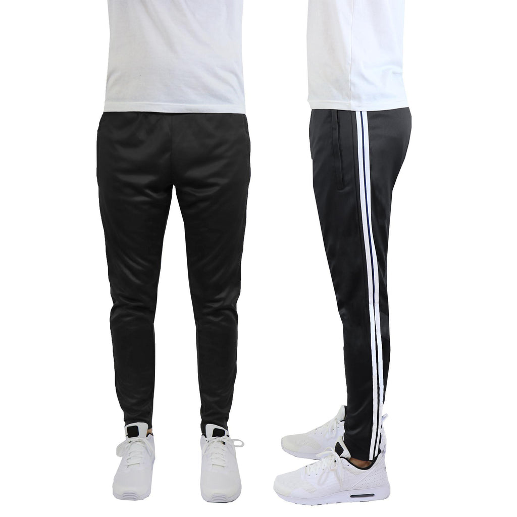 Daily Steals-Men's Moisture-Wicking Striped Jogger Track Pants-Men's Apparel-Style 1 - Black-White-2X-Large-