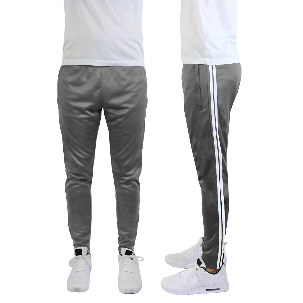 Daily Steals-Men's Moisture-Wicking Striped Jogger Track Pants-Men's Apparel-Style 1 - Charcoal-White-2X-Large-