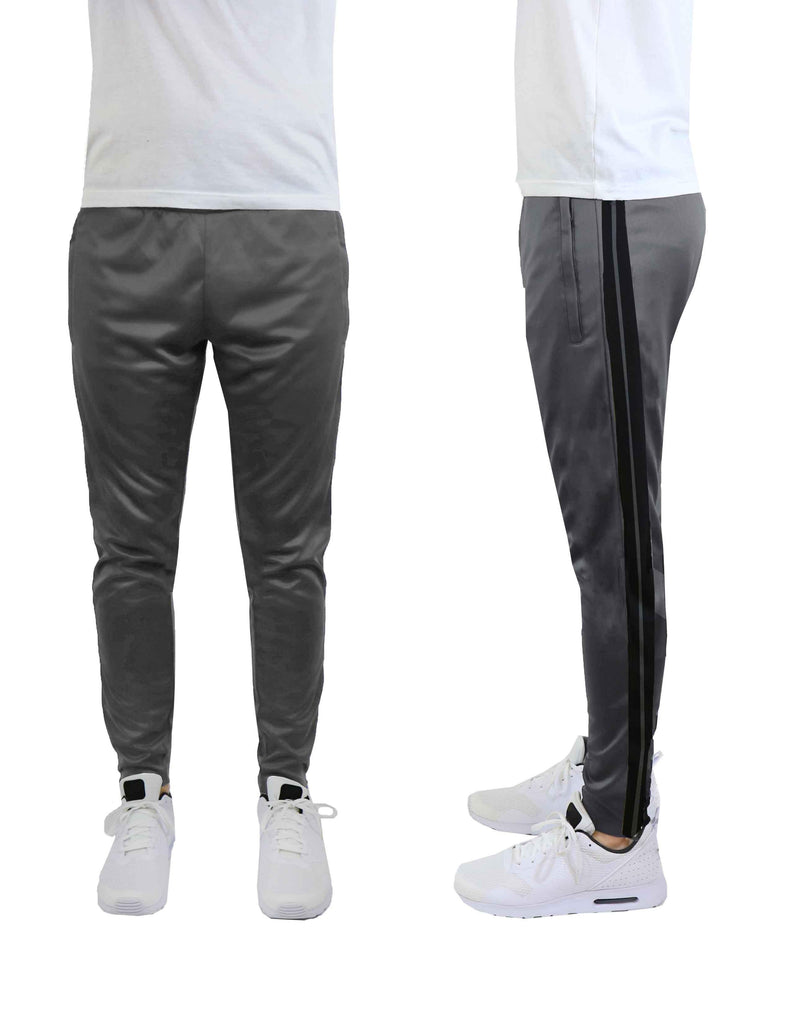 Daily Steals-Men's Moisture-Wicking Striped Jogger Track Pants-Men's Apparel-Style 1 - Grey-Black-2X-Large-