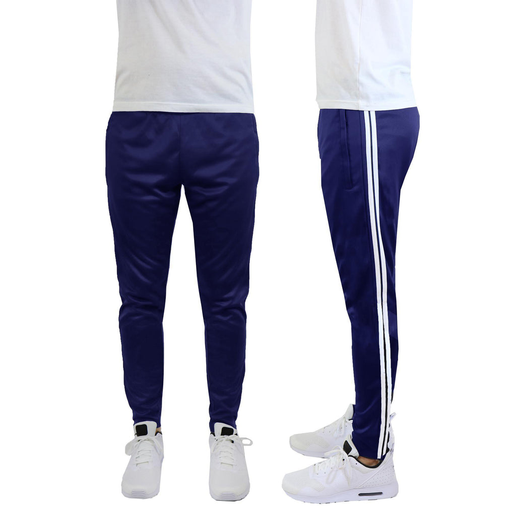 Daily Steals-Men's Moisture-Wicking Striped Jogger Track Pants-Men's Apparel-Style 1 - Navy-White-2X-Large-