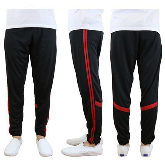 Daily Steals-Men's Moisture-Wicking Striped Jogger Track Pants-Men's Apparel-Style 2 - Black-Red-2X-Large-