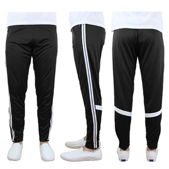 Daily Steals-Men's Moisture-Wicking Striped Jogger Track Pants-Men's Apparel-Style 2 - Black-White-2X-Large-