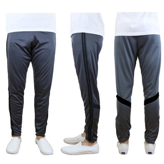 Daily Steals-Men's Moisture-Wicking Striped Jogger Track Pants-Men's Apparel-Style 2 - Charcoal-Black-2X-Large-