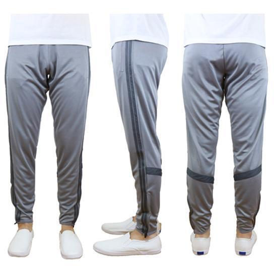 Daily Steals-Men's Moisture-Wicking Striped Jogger Track Pants-Men's Apparel-Style 2 - Heather Grey-Charcoal-2X-Large-